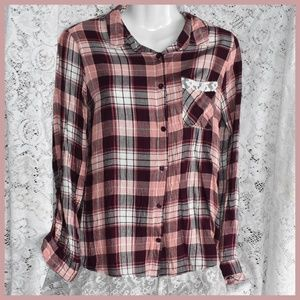 Pretty Pink Plaid Top with Lace